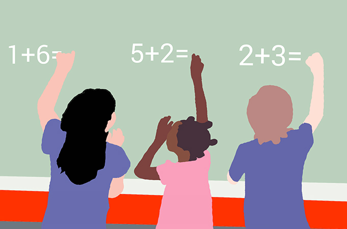 Graphic of children doing math
