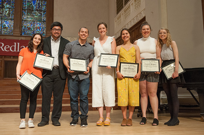 Students receiving science and math awards during the 2019 honors convocation
