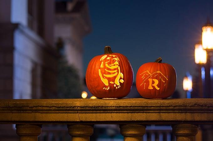 """Carved """"University of Redlands"""" themed Halloween Pumpkins"""
