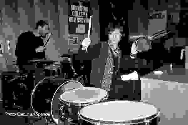 Old Picture of 2 drummers at Johnston college