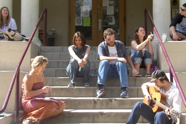 Students on Johnston Center steps