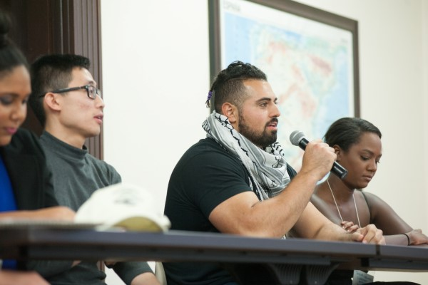 Students speak during the Race on Campus conference.